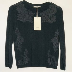 ZARA knit top long sleeve Embroidered 🌹 roses